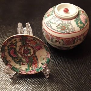 Rose medallion small ginger jar and small plate.